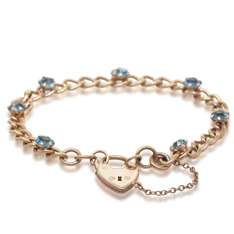 Deja Vu Gold Plated Synthetic Blue Stone Bracelet - Walker & Hall