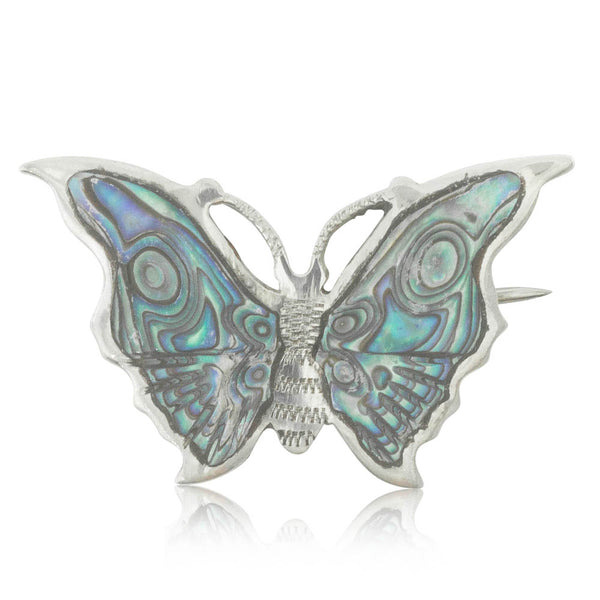 Deja Vu Sterling Silver Paua Butterfly Brooch - Walker & Hall
