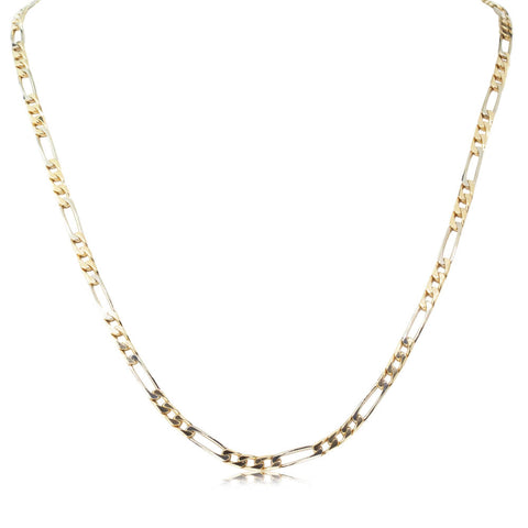 Deja Vu 18ct Yellow & White Gold Figaro Link Necklace - Walker & Hall