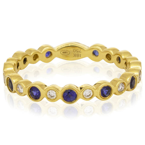 18ct Yellow Gold .55ct Sapphire & Diamond Band - Walker & Hall
