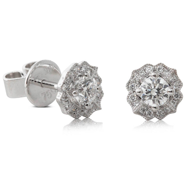 18ct White Gold .38ct Diamond Paramount Earrings - Walker & Hall