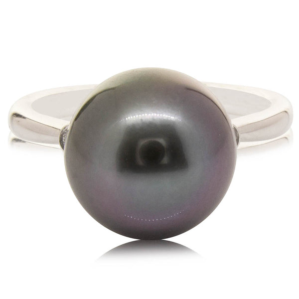 18ct White Gold 11.3mm Black Pearl & Diamond Ring - Walker & Hall