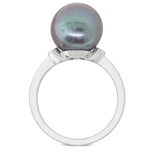 18ct White Gold 11.3mm Tahitian Black Pearl & Diamond Ring - Walker & Hall