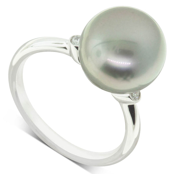 18ct White Gold 11.5mm Black Pearl & Diamond Ring - Walker & Hall