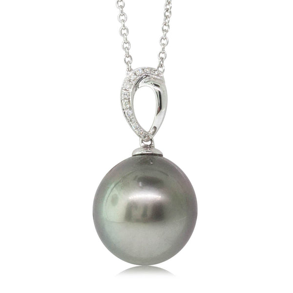 18ct White Gold 13mm Black Pearl & Diamond Pendant - Walker & Hall