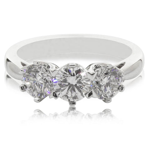 Platinum 1.52ct Diamond Trilogy Ring - Walker & Hall