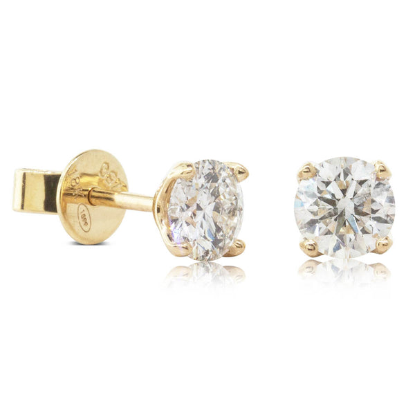 18ct Yellow Gold 1.05ct Diamond Blossom Earrings - Walker & Hall