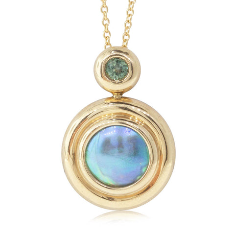 18ct Yellow Gold Blue Pearl & Tourmaline Pendant - Walker & Hall