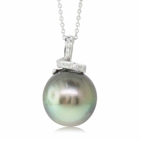 18ct White Gold Black Pearl & Diamond Pendant - Walker & Hall