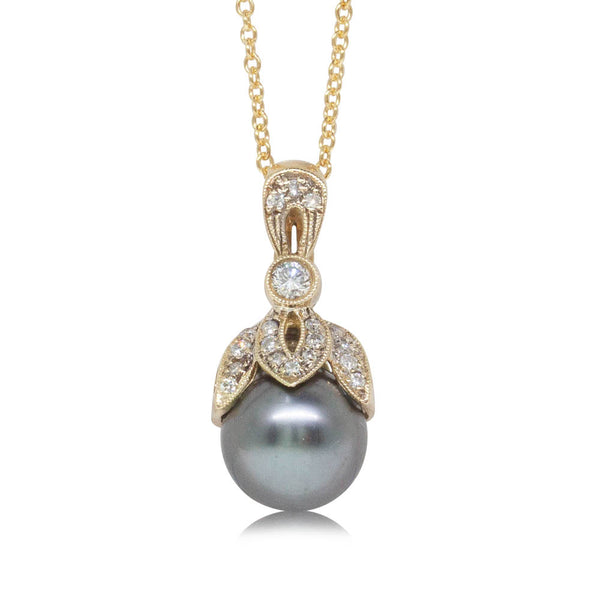 Deja Vu 14ct Yellow Gold 9mm Black Pearl & Diamond Pendant - Walker & Hall