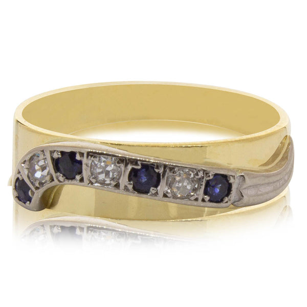 Deja Vu 18ct Yellow & White Gold Sapphire & Diamond Ring - Walker & Hall