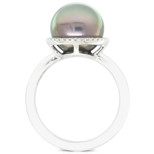 18ct White Gold 11mm Black Pearl & Diamond Halo Ring - Walker & Hall