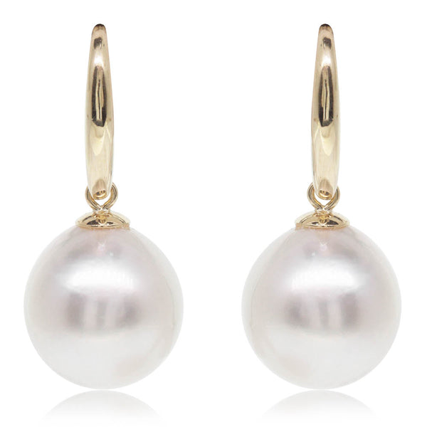 9ct Yellow Gold 11.5mm South Sea Pearl Earrings - Walker & Hall