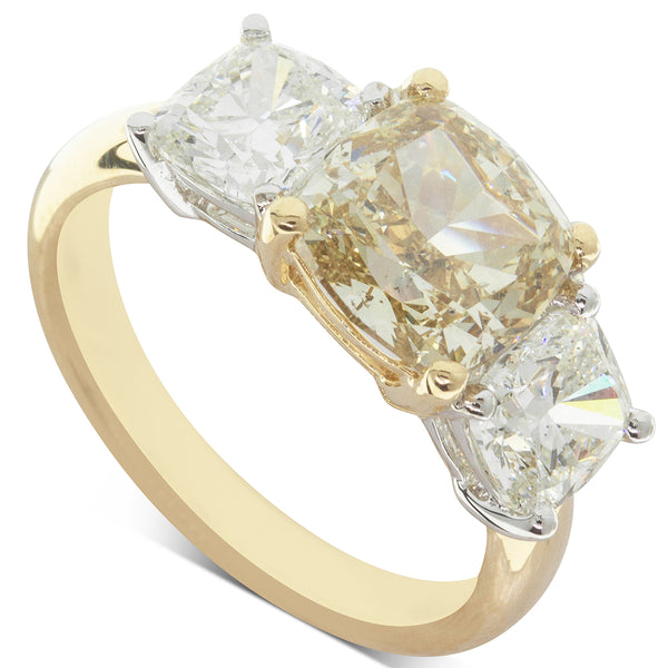 18ct Yellow & White Gold 3.34ct Diamond Trilogy Ring - Walker & Hall