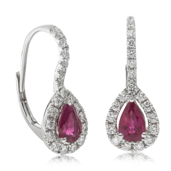 18ct White Gold 1.02ct Ruby & Diamond Earrings - Walker & Hall