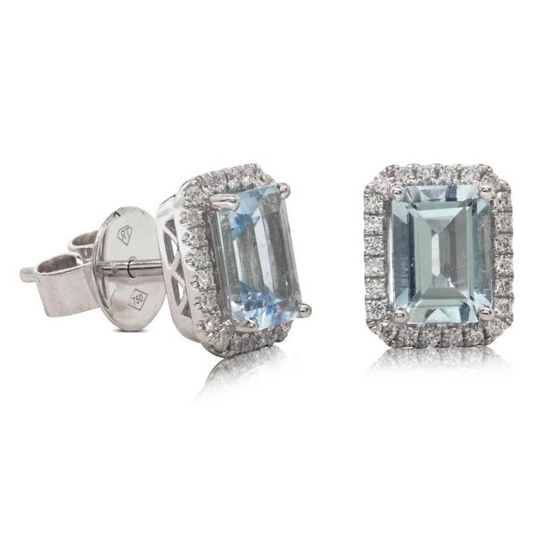 18ct White Gold 1.86ct Aquamarine & Diamond Halo Studs - Walker & Hall