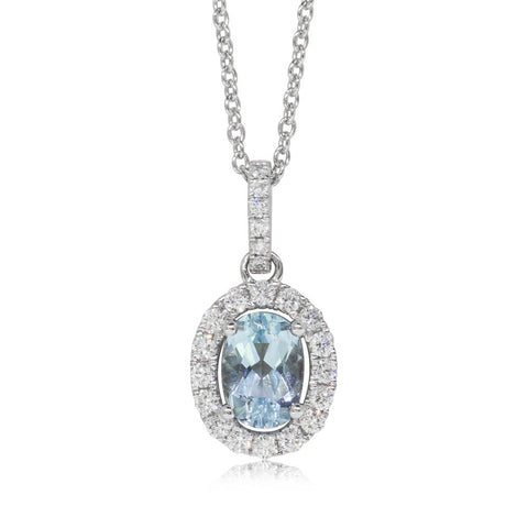 18ct White Gold Aquamarine & Diamond Halo Pendant - Walker & Hall