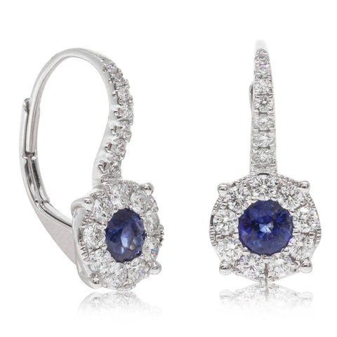 18ct White Gold .87ct Sapphire & Diamond Earrings - Walker & Hall