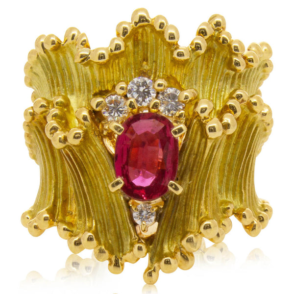 Deja Vu 18ct Yellow Gold .64ct Ruby & Diamond Ring - Walker & Hall