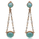 Vintage 9ct Yellow Gold Pearl & Turquoise Drop Earrings - Walker & Hall
