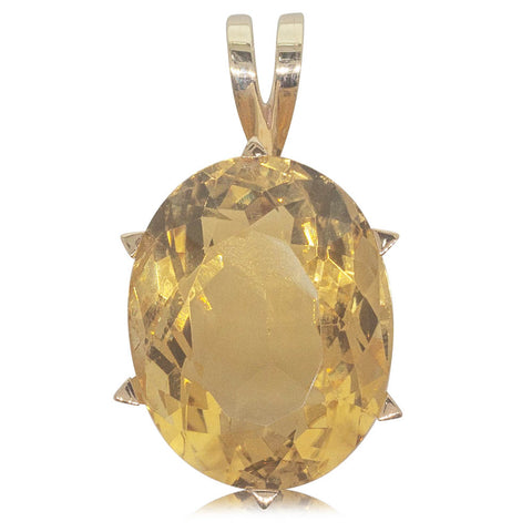 Vintage 15ct Yellow Gold 36ct Citrine Pendant - Walker & Hall
