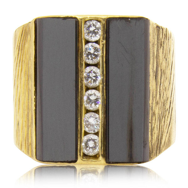 Vintage 18ct Yellow Gold Hematite & Diamond Ring - Walker & Hall