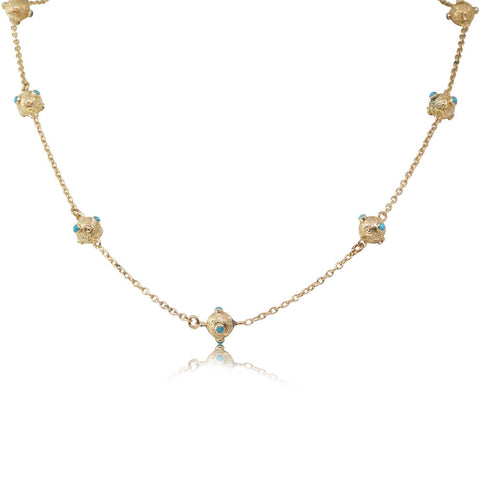 Vintage 9ct Yellow Gold Turquoise Necklace - Walker & Hall