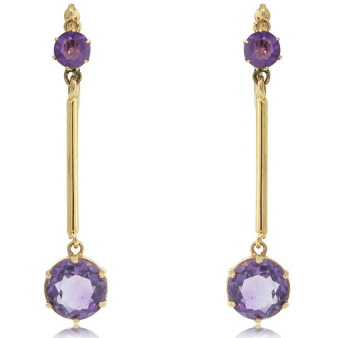 Vintage 9ct Yellow Gold Victorian Amethyst Clip On Drop Earrings - Walker & Hall