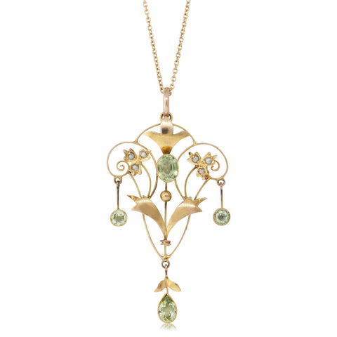 Vintage 9ct Yellow Gold Peridot & Pearl Pendant - Walker & Hall