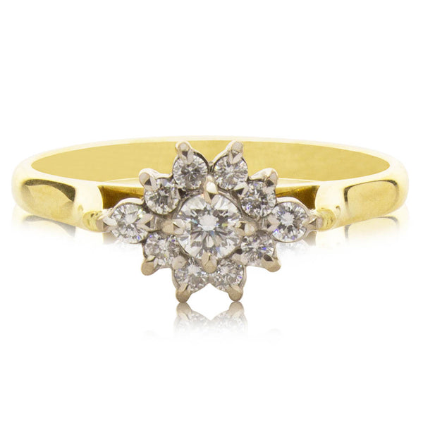 Deja Vu 18ct Yellow & White Gold .50ct Diamond Cluster Ring - Walker & Hall