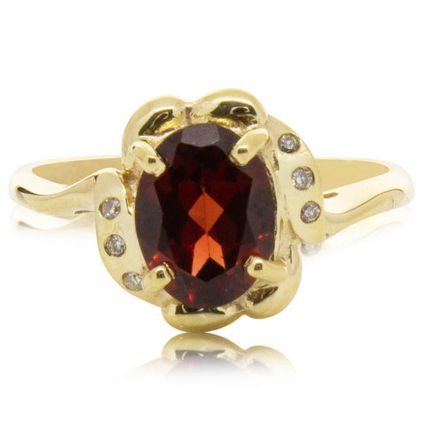 Deja Vu 9ct Yellow Gold Garnet & Diamond Ring - Walker & Hall
