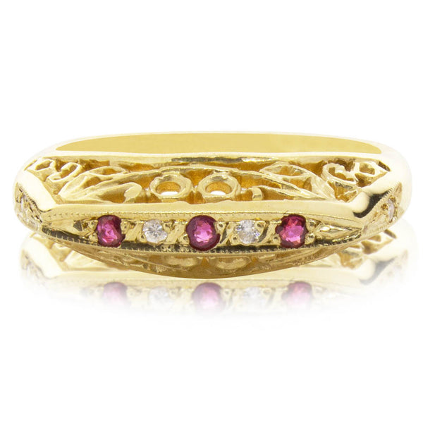 Deja Vu 9ct Yellow Gold Ruby & Diamond Ring - Walker & Hall