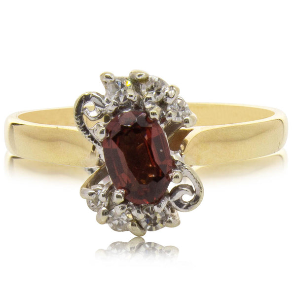 Deja Vu 9ct Yellow & White Gold Garnet & Diamond Ring - Walker & Hall