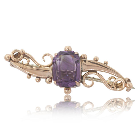 Deja Vu 9ct Rose Gold Amethyst Brooch - Walker & Hall