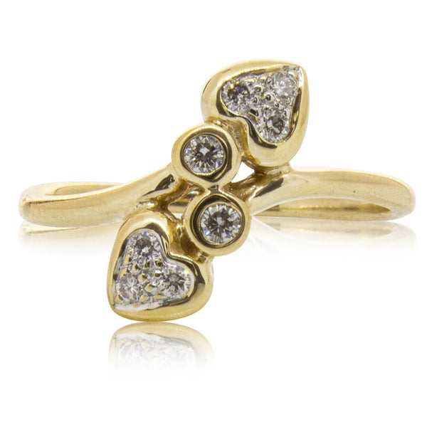 Deja Vu 9ct Yellow Gold Hearts Ring - Walker & Hall