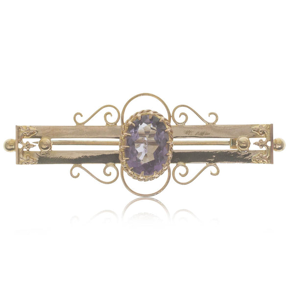 Deja Vu 9ct Yellow Gold Amethyst Brooch - Walker & Hall