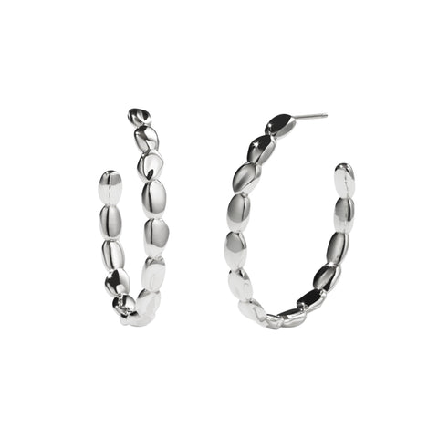 Meadowlark Petite Pebble Hoop Earrings - Sterling Silver - Walker & Hall