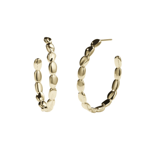 Meadowlark Petite Pebble Hoop Earrings - Gold Plated - Walker & Hall