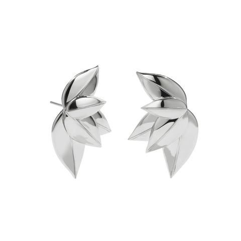 Meadowlark 5 Leaves Stud Earrings - Sterling Silver - Walker & Hall