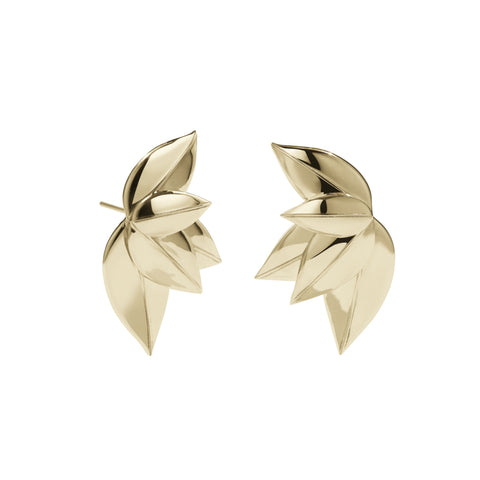 Meadowlark 5 Leaves Stud Earrings - Gold Plated - Walker & Hall