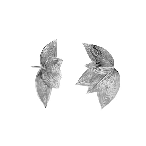 Meadowlark Etched 5 Leaves Stud Earrings - Sterling Silver - Walker & Hall
