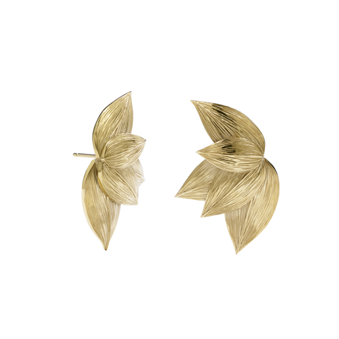 Meadowlark Etched 5 Leaves Stud Earrings - Gold Plated - Walker & Hall
