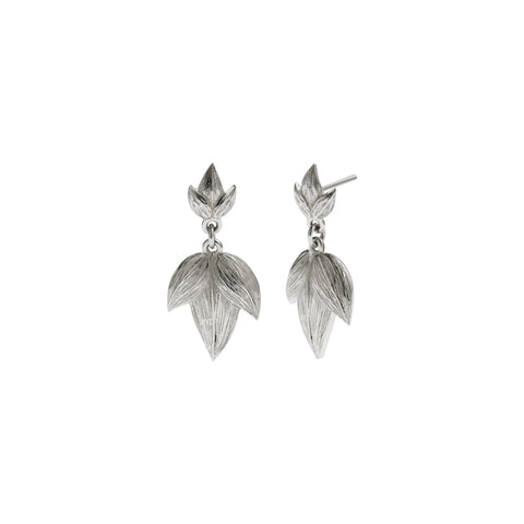 Meadowlark Etched 3 Leaves Drop Earrings - Sterling Silver - Walker & Hall