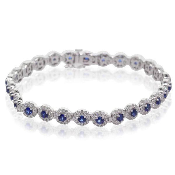 18ct White Gold 3.44ct Sapphire & Diamond Bracelet - Walker & Hall