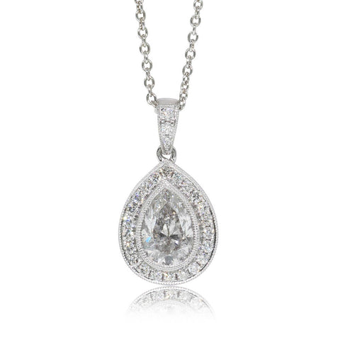 18ct White Gold Diamond Halo Pendant - Walker & Hall