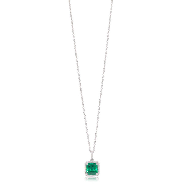 18ct White Gold 2.15ct Emerald & Diamond Halo Pendant - Walker & Hall