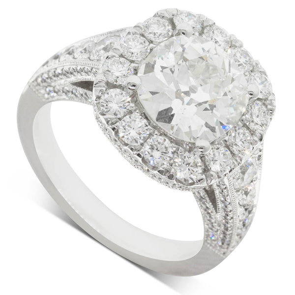 18ct White Gold 2.56ct Diamond Halo Ring - Walker & Hall