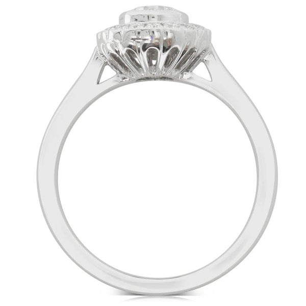18ct White Gold .69ct Diamond Halo Ring - Walker & Hall