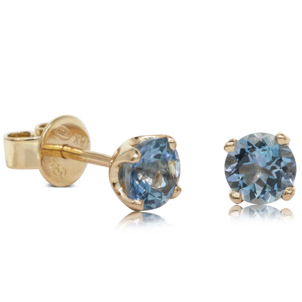 18ct Yellow Gold .83ct Aquamarine Solitaire Studs - Walker & Hall