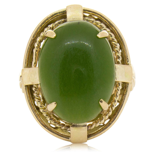Deja Vu 9ct Yellow Gold Nephrite Ring - Walker & Hall